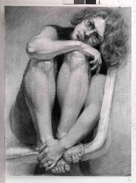 МФ-00009464 Васильева Наталия 4 2 Автопортрет сидя на стуле 2018 Бумага, уголь 62х46