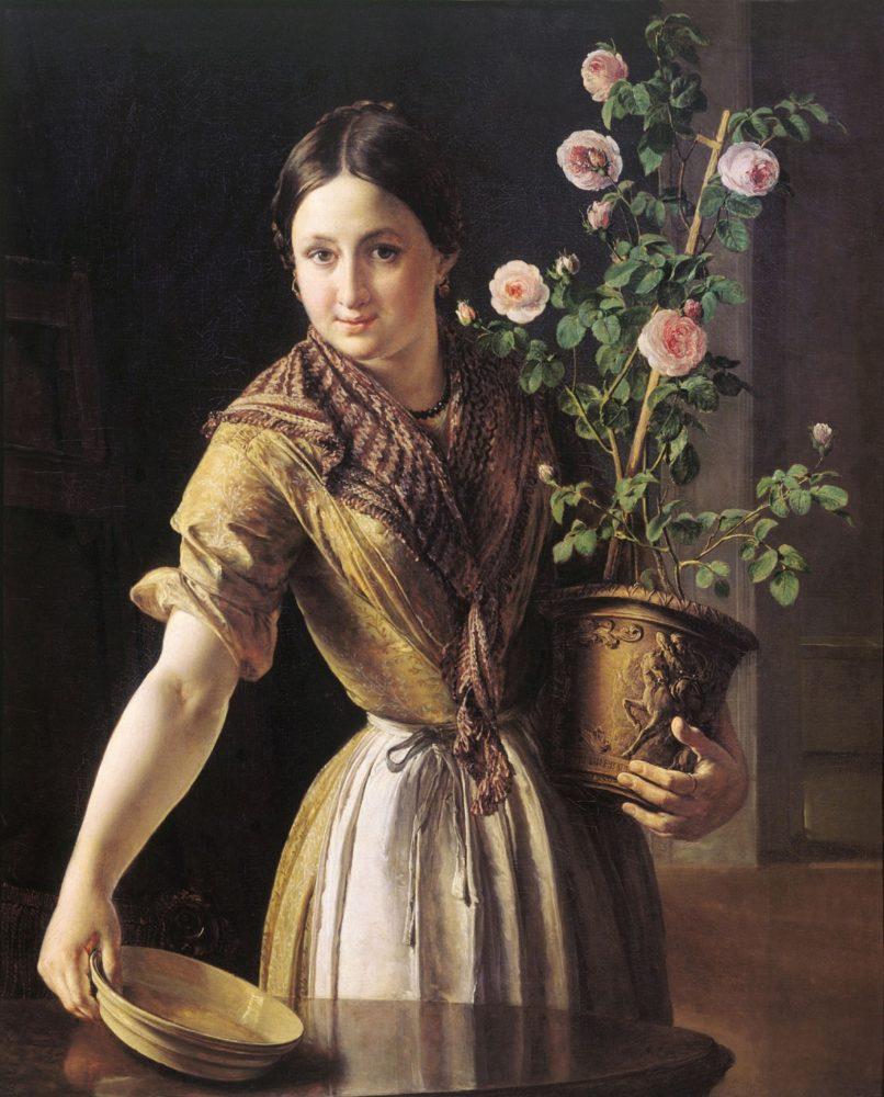 Девушка с горшком роз. 1850 г.